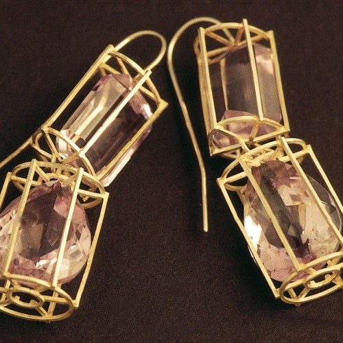 "Melanie Kölsch - earrings ""Amethyst in the cage"""