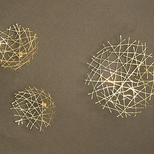 "Kayo Saito - earrings ""Snow gold"""